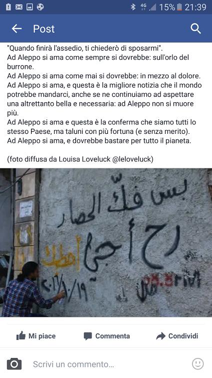 (Post apparso su Facebook di Anna Mallamo sulla foto di Louisa Loveluck)