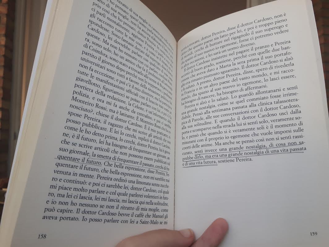 Io che leggo per la millesima volta Sostiene Pereira